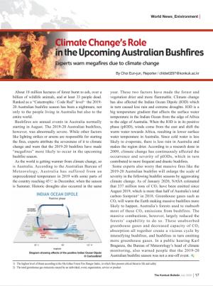 Climate Change's Role in the Upcoming Australian Bushfires